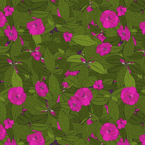 Camellia pink on purple