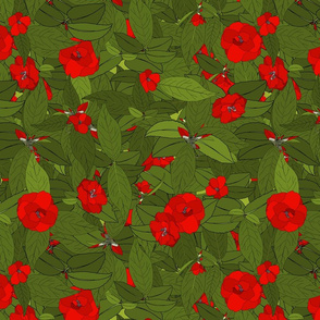 Camellia tile red on green