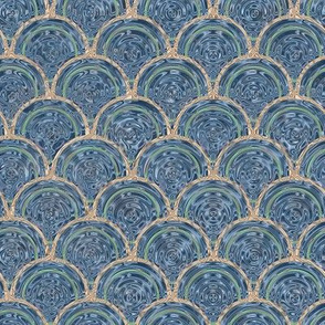 Swirly Rings - Blue, Copper