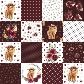 "maroon floral highland cow cheater quilt - 9"" squares"