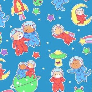 Space Cats on Blue
