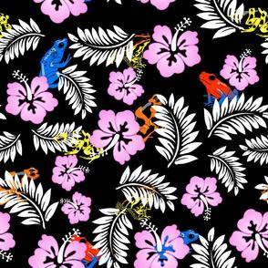 hawaiian frogs on black
