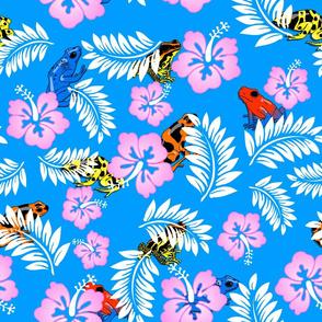 hawaiian frogs on blue