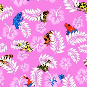 hawaiian frogs on pink