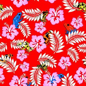hawaiian frogs on red
