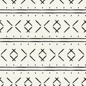 mud cloth stitch - onyx on bone - mudcloth tribal - LAD19