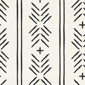 mud cloth arrow stripes - onyx on bone - mudcloth tribal - LAD19