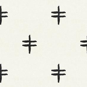 double cross - mud cloth - onyx on bone - mudcloth tribal - LAD19