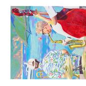 Jazz by the sea tea towel