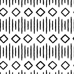 diamond fall - mud cloth - black and white - mudcloth farmhouse tribal - LAD19