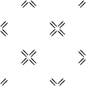 cross - black and white - mud cloth inspired home decor tribal wallpaper  - LAD19