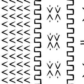 mud cloth - arrow & cross - black and white - mud cloth inspired home decor wallpaper - LAD19