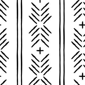 mud cloth arrow stripes - black and white - mudcloth tribal - LAD19