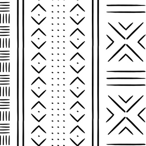 black and white mud cloth - dots - mudcloth tribal - LAD19