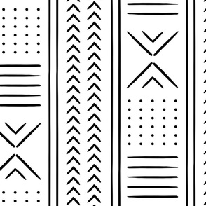 black and white mud cloth - arrow cross dot - mudcloth home decor tribal - LAD19