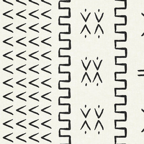 mud cloth - arrow & cross - onyx on bone - mud cloth inspired home decor wallpaper - LAD19