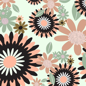 Geometric Florals with mint background