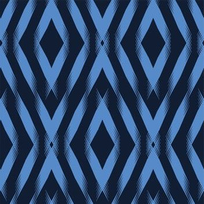 Modern indigo blue geometric hand drawn chevron diamond.