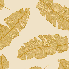 large tropical banana leaves  - mustard  & sand
