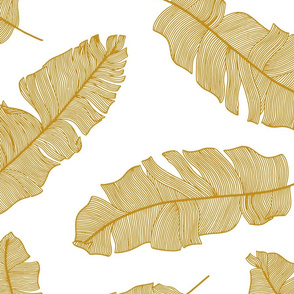 tropical banana leaves - white and mustard