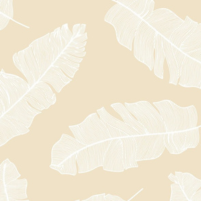 LARGE tropical banana leaves_sand and white