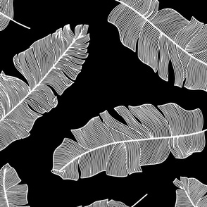 LARGE tropical banana leaves - black and white