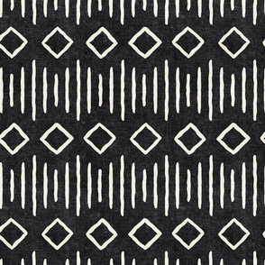 diamond fall - mud cloth - onyx- mudcloth farmhouse tribal - LAD19