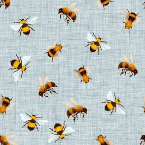 Honey Bees // Geyser Blue Linen
