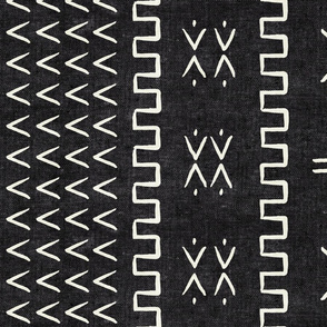mud cloth - arrow & cross - onyx - mud cloth inspired home decor wallpaper - LAD19