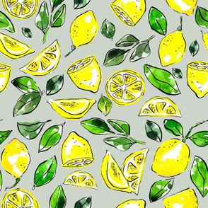 lemons drawn with watercolor on grey backdrop