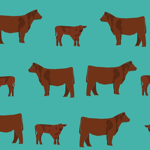 red angus fabric - angus cattle, angus fabric, cow fabric, cattle fabric - turquoise