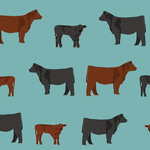 black and red angus cow fabric - cattle fabric, cow fabric, angus fabric - blue