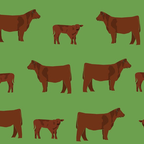 red angus fabric - angus cattle, angus fabric, cow fabric, cattle fabric - green
