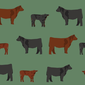 black and red angus cow fabric - cattle fabric, cow fabric, angus fabric - earthy green