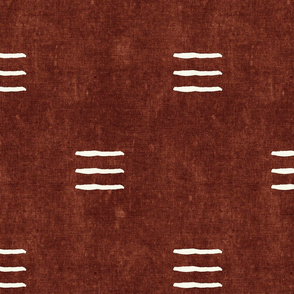 triple dash - mud cloth - rust - mudcloth farmhouse tribal - LAD19