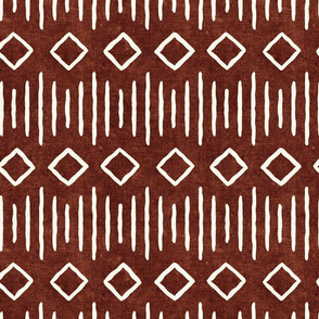 diamond fall - mud cloth - rust - mudcloth farmhouse tribal - LAD19