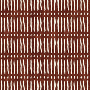 vertical dash mud cloth stripes - rust - mud cloth inspired home decor wallpaper - LAD19