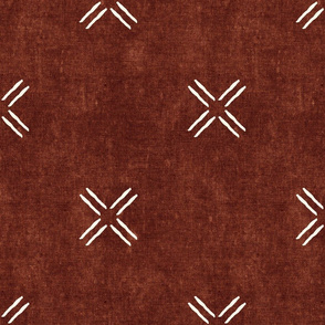 cross on rust -   trendy mud cloth inspired home decor wallpaper - LAD19