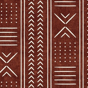 rust mud cloth - arrow cross dot - mudcloth home decor tribal - LAD19