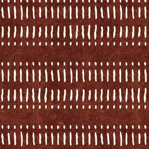 dash dot stripes on rust - mudcloth inspired home decor wallpaper - LAD19