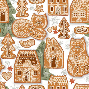 Gingerbread Cats and Houses