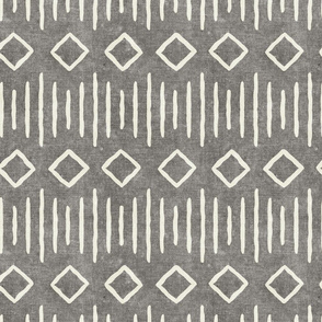 diamond fall - mud cloth - grey - mudcloth farmhouse tribal - LAD19