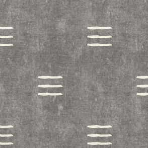 triple dash - mud cloth - grey - mudcloth farmhouse tribal - LAD19
