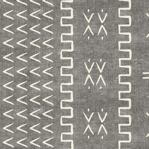 mud cloth - arrow & cross - grey - mud cloth inspired home decor wallpaper - LAD19