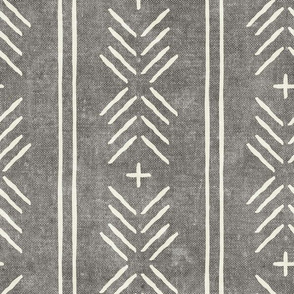mud cloth arrow stripes - grey - mudcloth tribal - LAD19