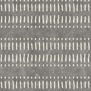 dash dot stripes on grey - mudcloth inspired home decor wallpaper - LAD19