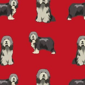 bearded collie fabric - black bearded collie, dog fabric, - red