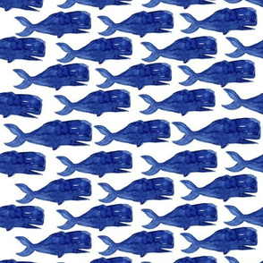 Sperm whale watercolor pattern. Nautical style.