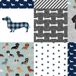 LARGE - dachshund pet quilt b dog breed silhouette cheater quilt multi coats