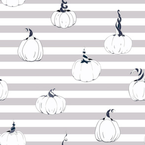 Magical Pumpkins on horizontal stripes seamless pattern background.